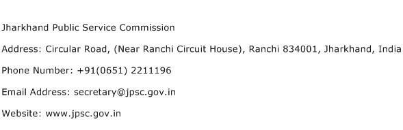 Jharkhand Public Service Commission Address Contact Number