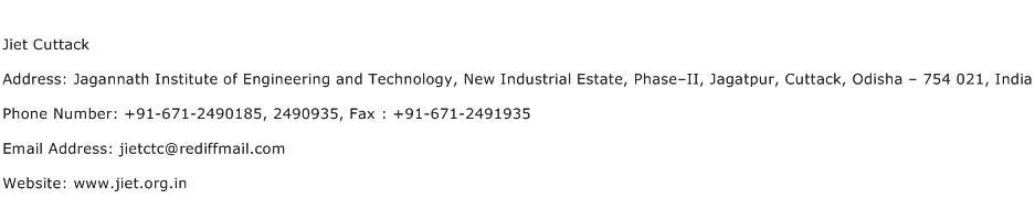 Jiet Cuttack Address Contact Number
