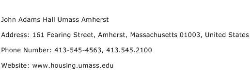 John Adams Hall Umass Amherst Address Contact Number