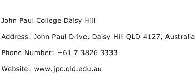John Paul College Daisy Hill Address Contact Number