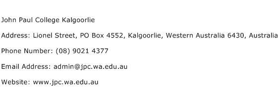 John Paul College Kalgoorlie Address Contact Number