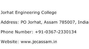 Jorhat Engineering College Address Contact Number