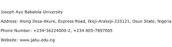 Joseph Ayo Babalola University Address Contact Number