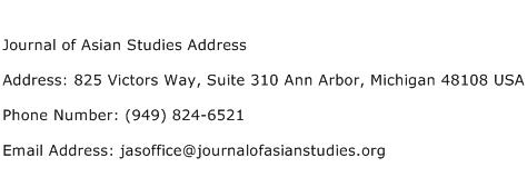 Journal of Asian Studies Address Address Contact Number