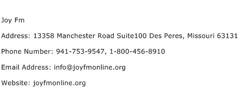 Joy Fm Address Contact Number