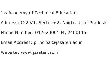 Jss Academy of Technical Education Address Contact Number
