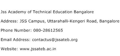 Jss Academy of Technical Education Bangalore Address Contact Number