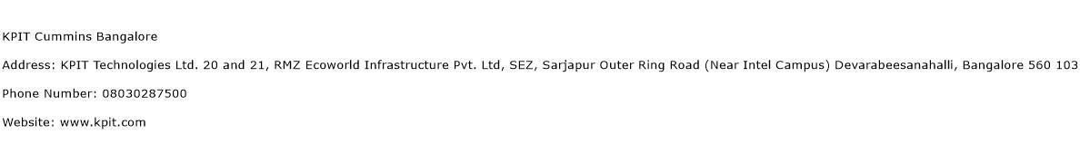 KPIT Cummins Bangalore Address Contact Number