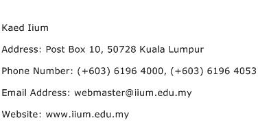 Kaed Iium Address Contact Number