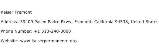 Kaiser Fremont Address Contact Number