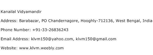 Kanailal Vidyamandir Address Contact Number