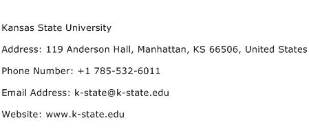 Kansas State University Address Contact Number