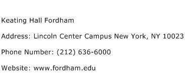 Keating Hall Fordham Address Contact Number
