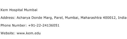 Kem Hospital Mumbai Address Contact Number