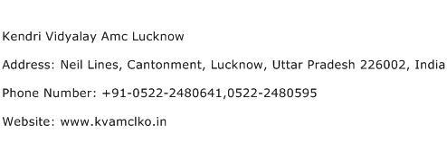 Kendri Vidyalay Amc Lucknow Address Contact Number