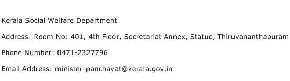 Kerala Social Welfare Department Address Contact Number