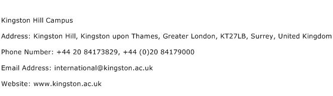 Kingston Hill Campus Address Contact Number