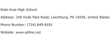 Kiski Area High School Address Contact Number