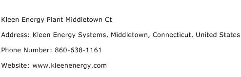 Kleen Energy Plant Middletown Ct Address Contact Number