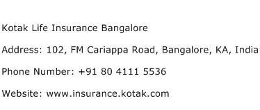 Kotak Life Insurance Bangalore Address Contact Number