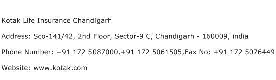 Kotak Life Insurance Chandigarh Address Contact Number