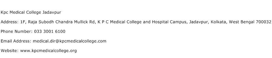 Kpc Medical College Jadavpur Address Contact Number