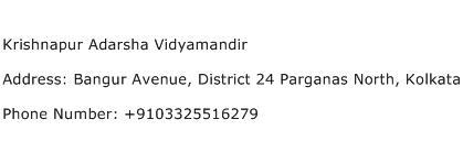Krishnapur Adarsha Vidyamandir Address Contact Number