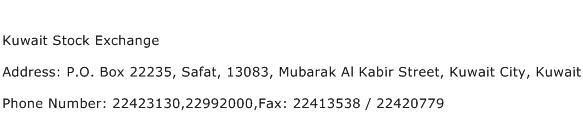 Kuwait Stock Exchange Address Contact Number