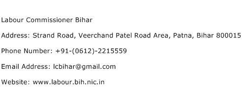 Labour Commissioner Bihar Address Contact Number