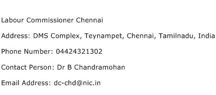 Labour Commissioner Chennai Address Contact Number