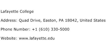 Lafayette College Address Contact Number