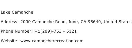 Lake Camanche Address Contact Number