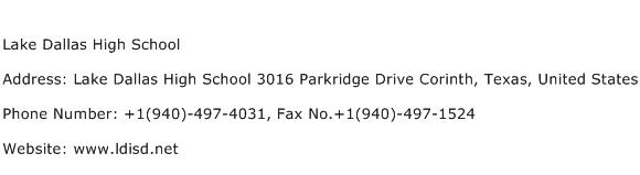 Lake Dallas High School Address Contact Number