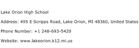 Lake Orion High School Address Contact Number