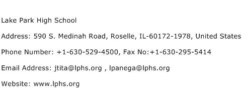 Lake Park High School Address Contact Number