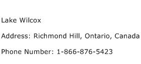 Lake Wilcox Address Contact Number