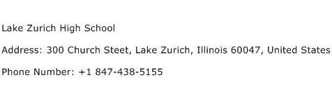 Lake Zurich High School Address Contact Number