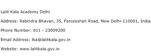 Lalit Kala Academy Delhi Address Contact Number