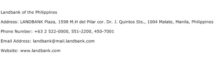 Landbank of the Philippines Address Contact Number