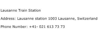 Lausanne Train Station Address Contact Number
