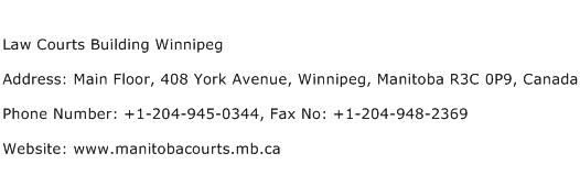 Law Courts Building Winnipeg Address Contact Number