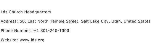 Lds Church Headquarters Address Contact Number