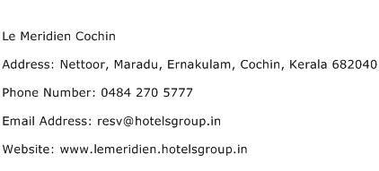 Le Meridien Cochin Address Contact Number