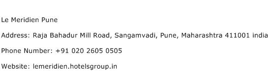 Le Meridien Pune Address Contact Number