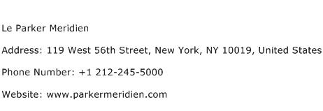 Le Parker Meridien Address Contact Number