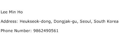 Lee Min Ho Address Contact Number