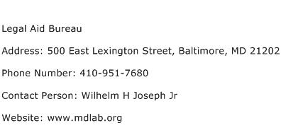 Legal Aid Bureau Address Contact Number