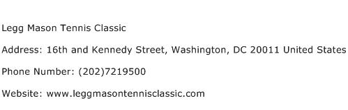Legg Mason Tennis Classic Address Contact Number