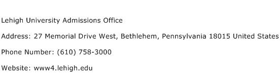 Lehigh University Admissions Office Address Contact Number