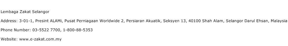 Lembaga Zakat Selangor Address Contact Number